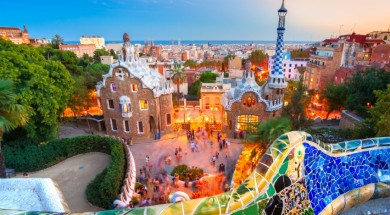 barcelona Park Guell in Barcelona, Spain.