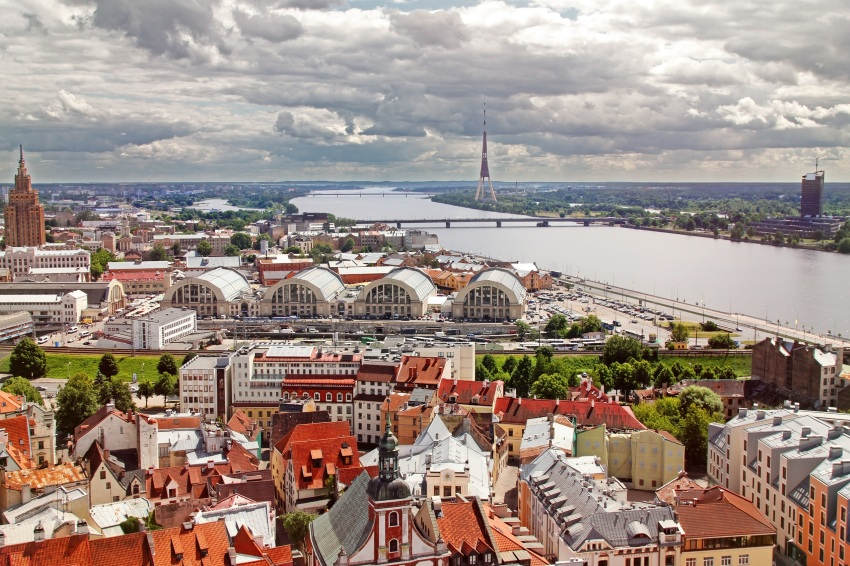 Ryga aerial view of Riga old town, city market and river Daugava