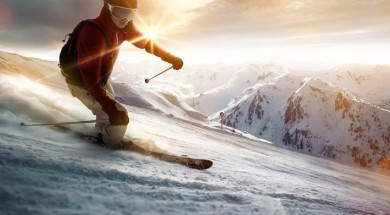 Zima Gory Góry narty snieg Skier in a sunset setting