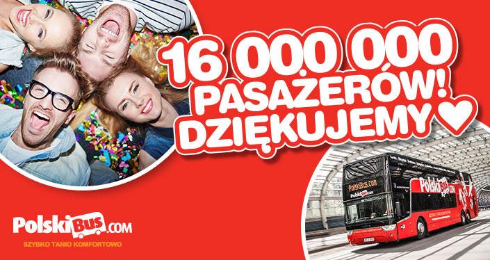 PolskiBus przewiózł już ponad 16 milionów pasażerów!