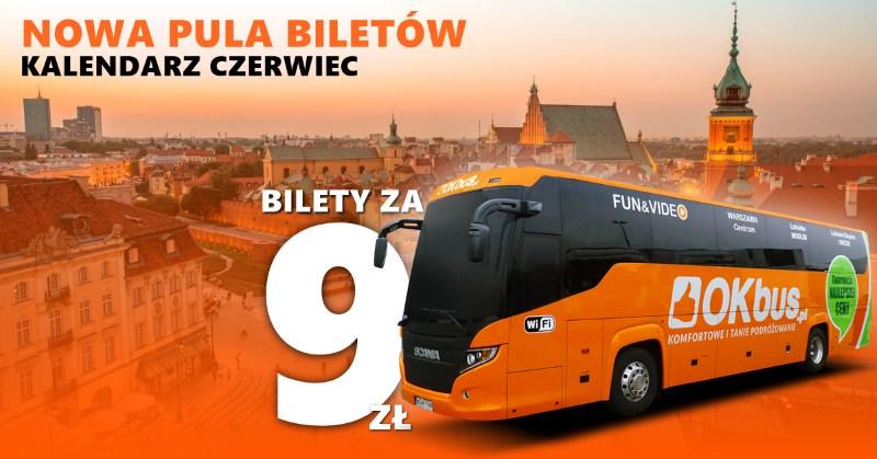 OKBus – nowa pula biletów na czerwiec od 9 PLN