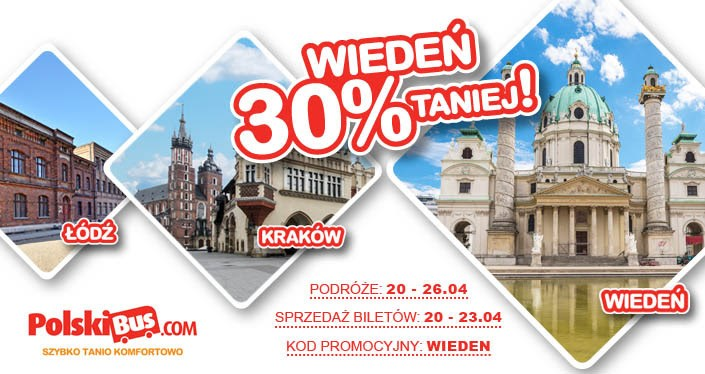PolskiBus: aż 30% rabatu na kursy do Wiednia