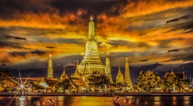 Landscape of River and Arun Temple in Bangkok city in fesival night time