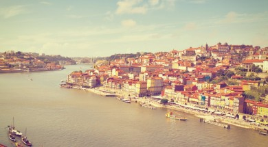 View to Historic Center City of Porto, Portugal, Instagram Effect