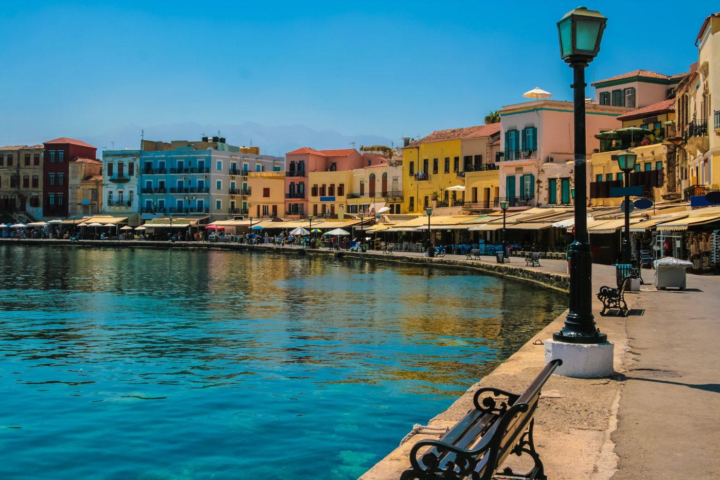 Kreta Beautiful cityscape and promenade in city of Chania on island of Crete, Greece