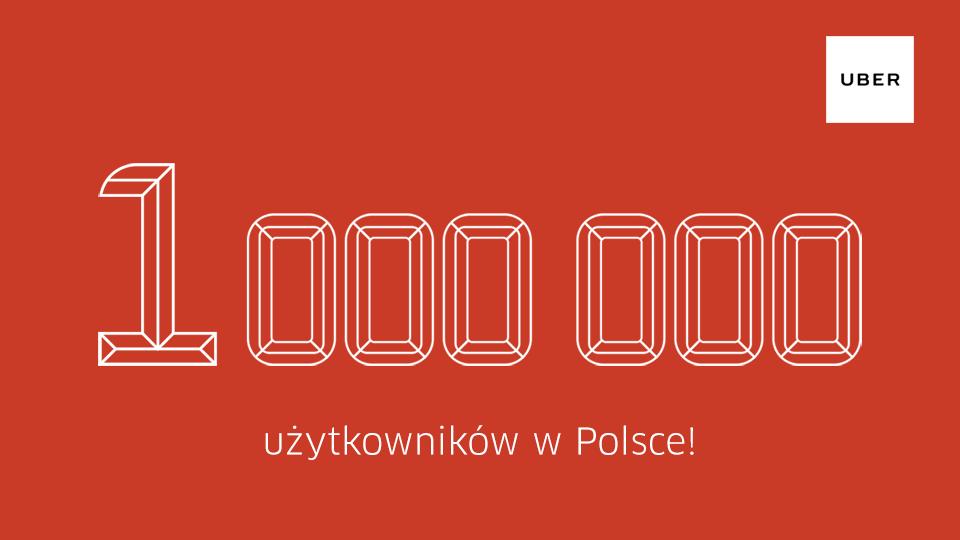 Uber: 1 milion użytkowników w Polsce (+podwójny bonus do zdobycia!)