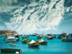 malta fishing boats near village of Marsaxlokk