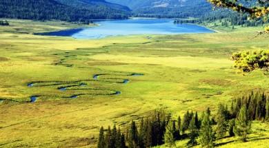 kazachstan Curved river on meadow and Yazevoe lake in Altai mountains, Kazakhstan