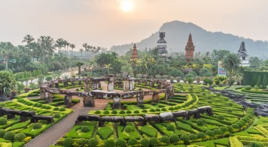 pattaya Nong Nooch Tropical Botanical Gardenat sunrise , Pattaya, Thailand