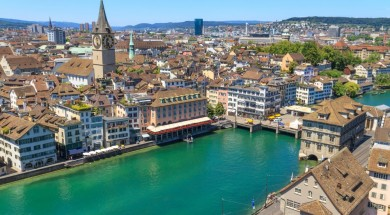 zurych Zurich Cityscape (aerial view from elevated position)