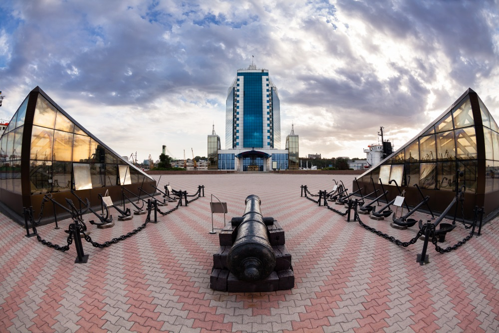 odessa ukraina odessa port hotel front twilight