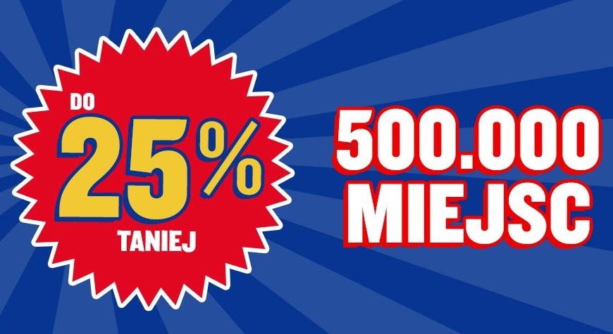 Promocja Ryanair: 500 000 biletów z rabatem 25%