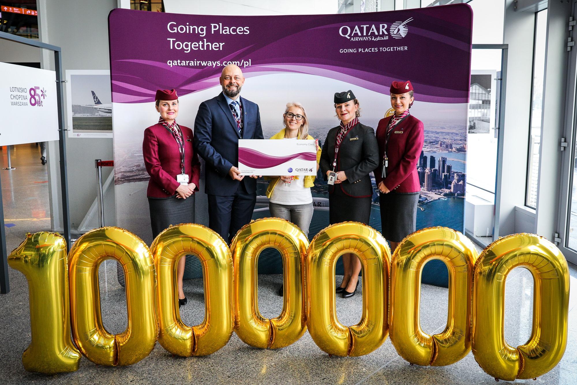 Milionowy pasażer Qatar Airways w Warszawie