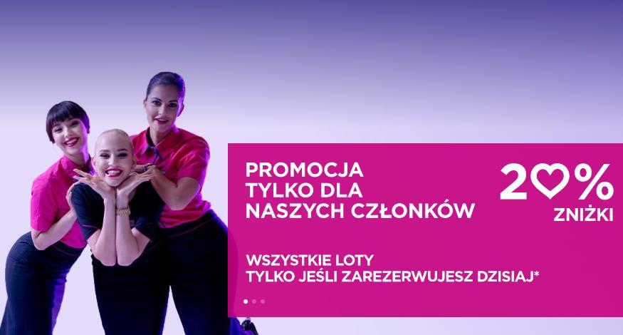 Do 20% zniżki na loty Wizz Air z Polski – walentynkowa promocja