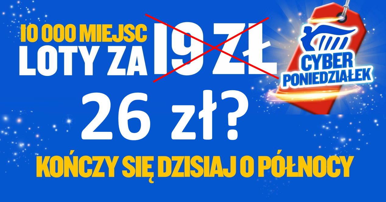 Tańsze loty Ryanair – z Polski od 26 PLN [CYBER PONIEDZIAŁEK]