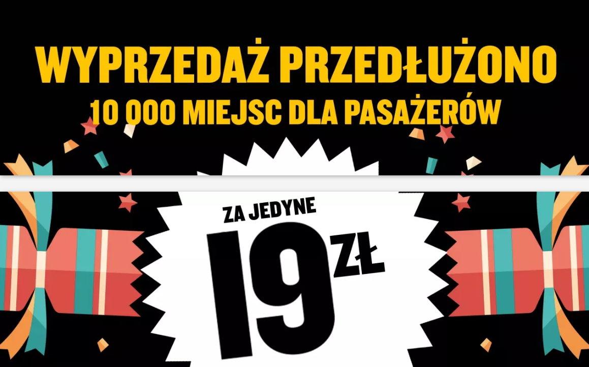 Loty od 19 PLN w każdą stronę. Promocja Ryanair przedłużona